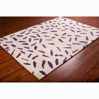 Allie Contemporary Handmade Abstract Beige Wool Rug (5' x 7'6)