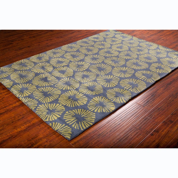 Allie Handmade abstract Blue/ Green Wool Rug (5' x 7'6)