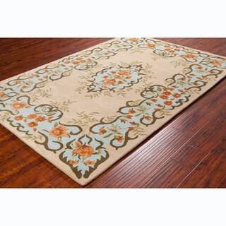 """Elegant Allie Handmade Floral Wool Rug (5' x 7'6"""")"""