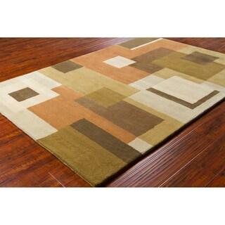 Allie Handmade Geometric Multicolored Wool Rug (5' x 7'6)