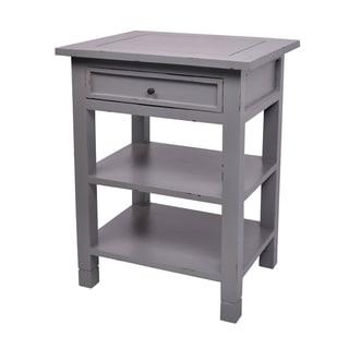 Newton One-Drawer Dark Grey Mahogany Side Table