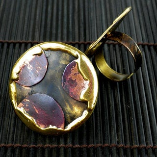 Handcrafted Copper and Brass Cut-Off Circles Ring (South Africa)