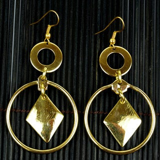 Handmade Brass Diamond Drop Earrings (South Africa)
