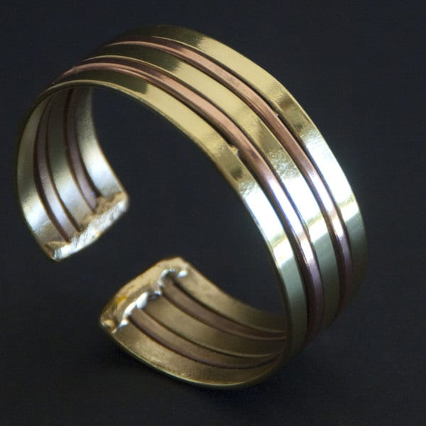 Copper and Brass Architecture Cuff Bracelet (South Africa)
