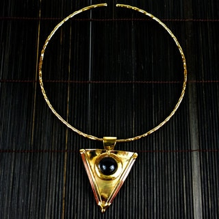 Onyx Brass and Copper Triangular Pendant Necklace (Ziod Africa)