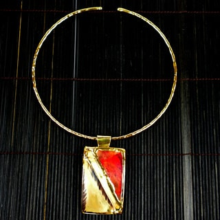 Red Copper and Brass Pendant Necklace (South Africa)