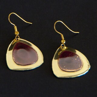 Red Copper and Brass Droplets Earrings (South Africa)