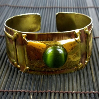 Brass Green Tiger Eye Cuff Bracelet (South Africa)