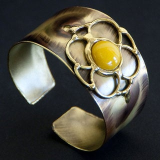 Brass Yellow Jade Flower Cuff Bracelet (South Africa)