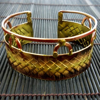 Brass and Copper Diamond Textured Scales Cuff Bracelet (South Africa)