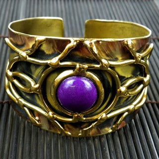Handmade Brass Purple Jade Abstract Cuff Bracelet (South Africa)