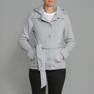 Honey Bun Women's Heather Grey Fleece Belted Coat