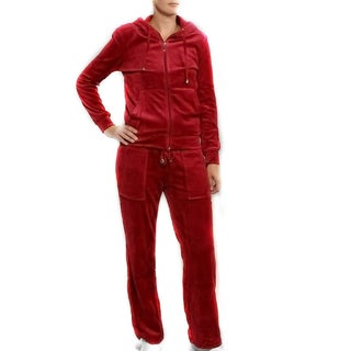 Breezy Women's 2-piece Wine Velour Track Set