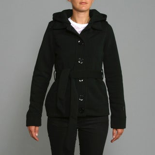 Honey Bun Women's Black Fleece Belted Coat