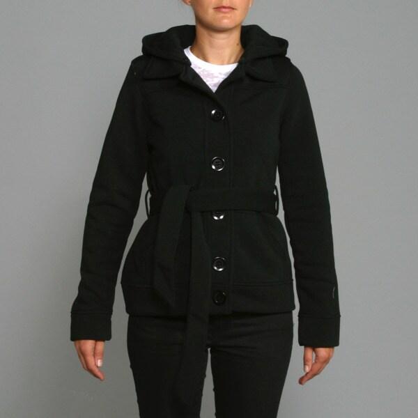 Honey Bun Women's Black Fleece Belted Coat