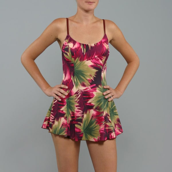 Daisy's Women's 1-piece Raspberry Floral Swimdress Swimsuit