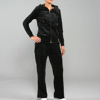 Breezy Women's 2-Piece Velour Track Set in Black