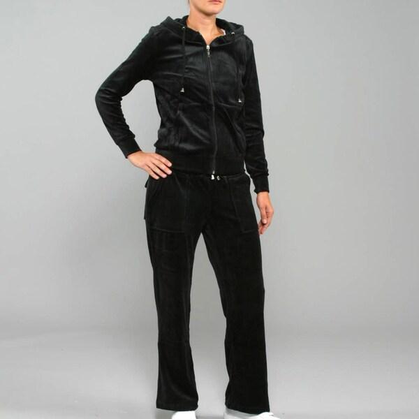 Breezy Women's 2-Piece Velour Track Set in Black