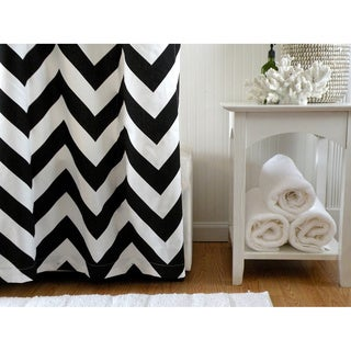Black and White Chevron Designer Shower Curtain