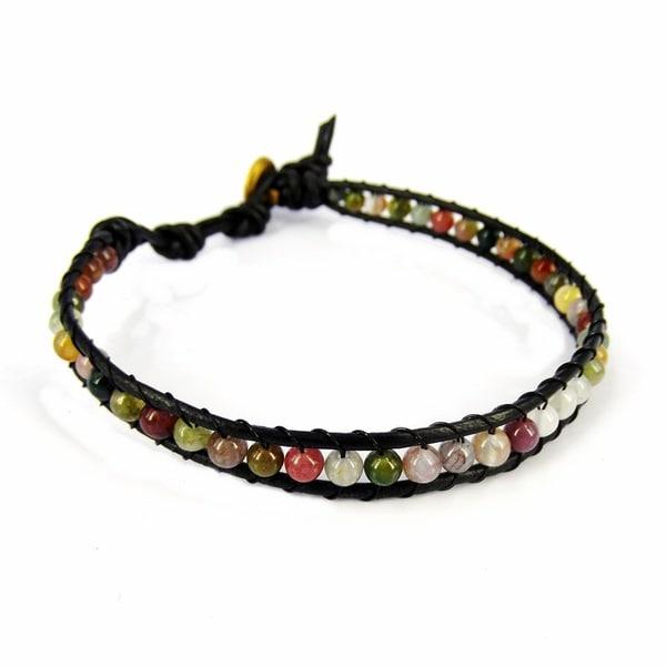 Seven Color Jade Mystic Om Sign Strand Bracelet (Thailand)