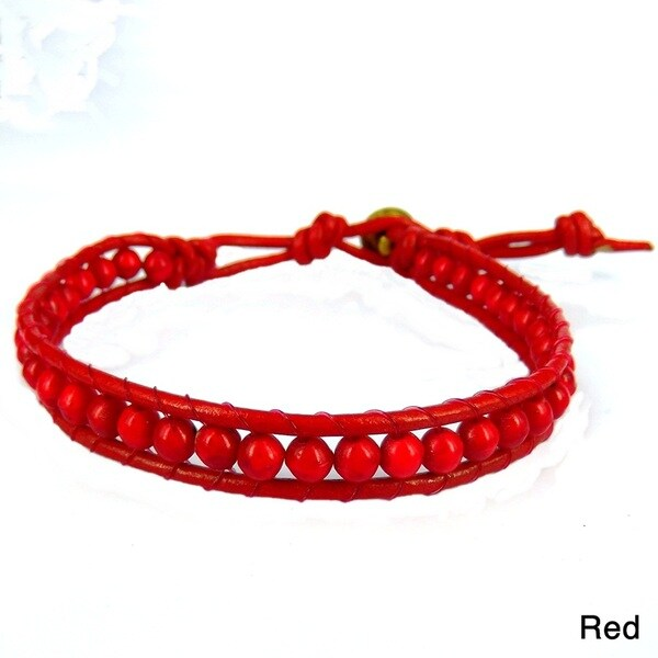 Enchanted Ohm Coral or Turquoise Single Strand Bracelet (Thailand)