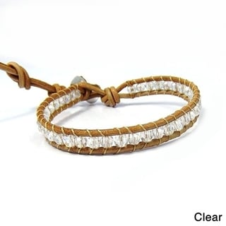 Trendy Nude Leather Mix Stone Single Strand Bracelet (Thailand)