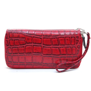 Dasein Matte Croco Dual Zip Compartment Wallet