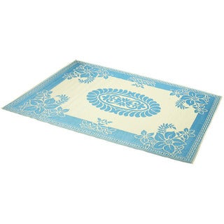 Hand-Stitched Turquoise/Ivory Indoor/Outdoor Flatweave Rug (6' x 9') (India)