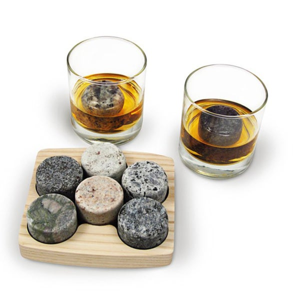 'On The Rocks' Round Granite Chiller Stones Drinking Set