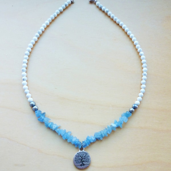 Every Morning Design Sterling Silver Tree of Life Pendant on Sky Blue Quartz Necklace