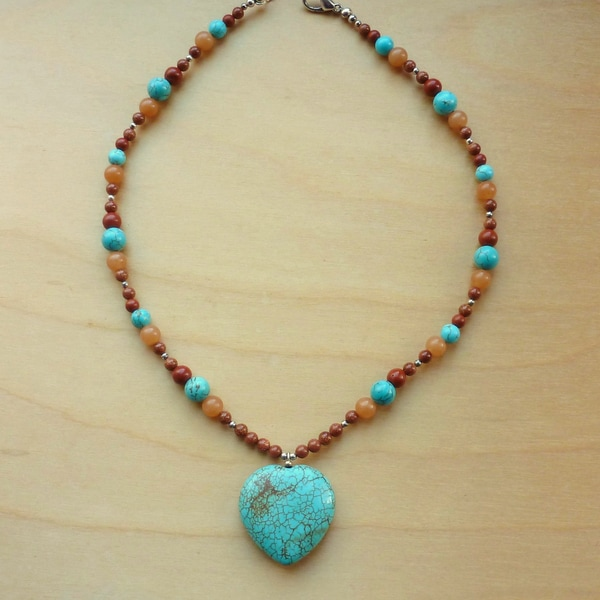 Every Morning Design Heart of the West Turquoise Heart Necklace