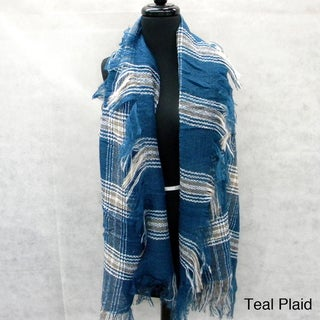 Cozy Plaid Fashion Scarf with Loose Fringe