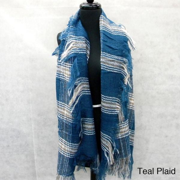Cozy Plaid Fashion Scarf with Loose Fringe
