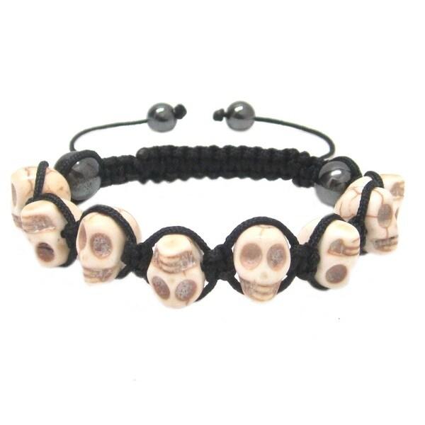 Men's or Women's White Turquoise Skull Shamballa Macrame Bracelet