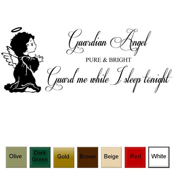 'Guardian Angel True and Bright, Guard Me As I Sleep Tonight' Vinyl Wall Art Decal