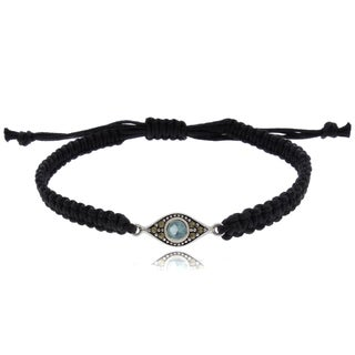 Dolce Giavonna Silver Overlay Marcasite and Simulated Aquamarine Evil Eye Bracelet