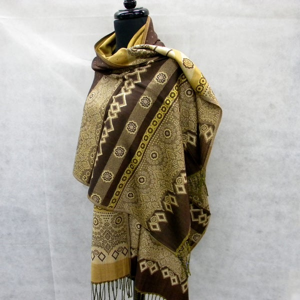 Dark Chocolate Fashion Scarf with Golden Floral Tapesty
