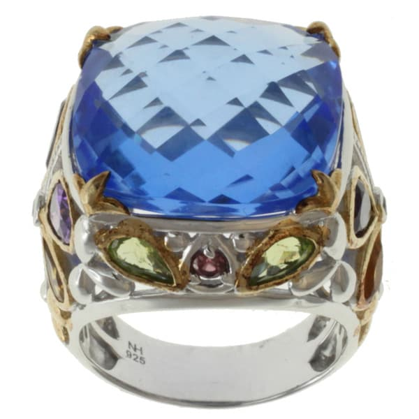 Michael Valitutti Two-tone Blue Quartz, Amethyst, Peridot and Citrine Ring