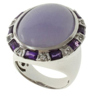 Michael Valitutti Silver Lavender Jade, Amethyst and White Topaz Ring