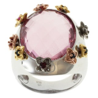 Michael Valitutti Tri-color Pink Quartz Flower Ring