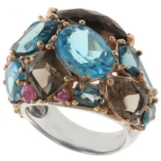 Michael Valitutti Two-tone Multi-gemstone Ring