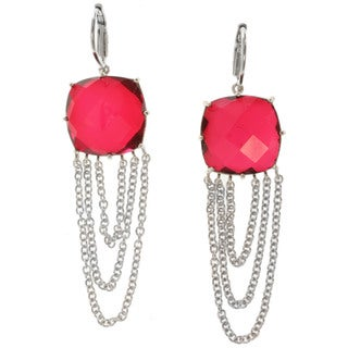 Michael Valitutti Sterling Silver Red Quartz Earrings