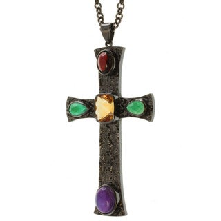 Michael Valitutti Black-plated Silver Multi-gemstone Necklace