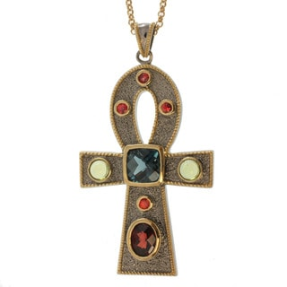 Michael Valitutti Two-tone Multi-gemstone Ankh Necklace