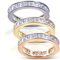 Annello 14k Gold 3ct TDW Princess Diamond Eternity Ring (H-I, I1-I2)