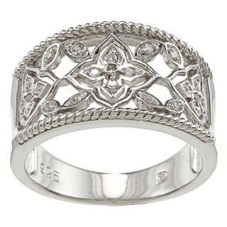 Sterling Silver Diamond Accent Openwork Floral Ring