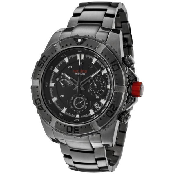 Red Line Men's 'Racer' Gunmetal Ion-Plated Stainless Steel Watch