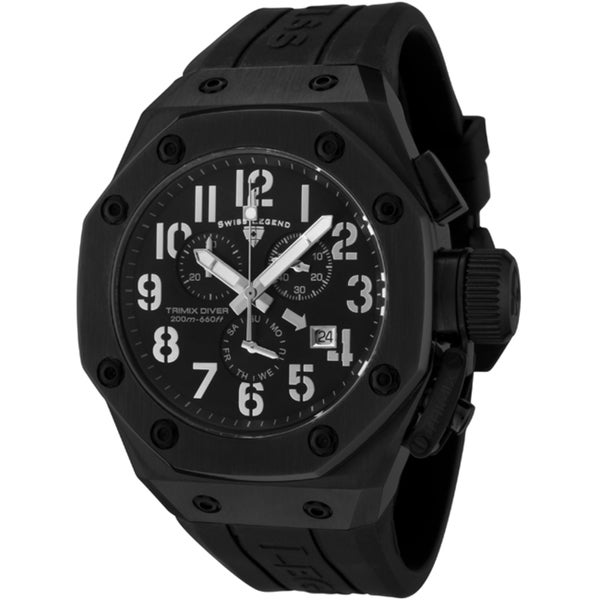 Swiss Legend Men's 'Trimix Diver' Black Silicone Watch