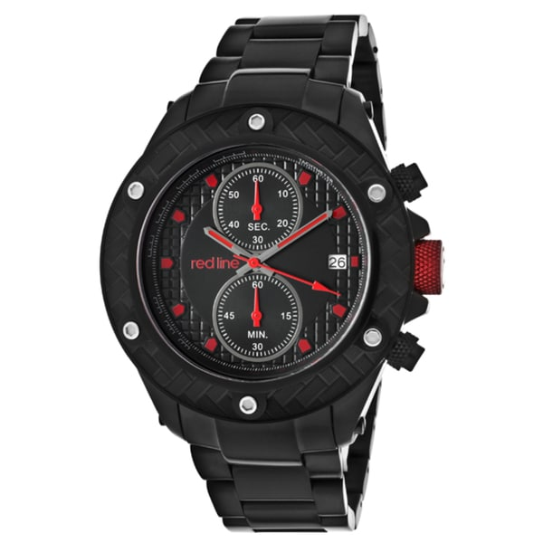 Red Line Men's 'Carbon Brake' Black Ion-plated Stainless Steel Watch