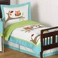 Turquoise and Lime Hooty 5-piece Toddler Bedding Set